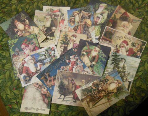Set of 16 LARGE Victorian/Vintage Santa labels postcard images---Set # 1
