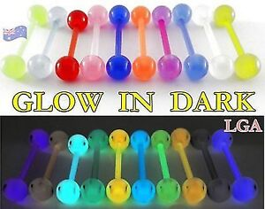6 x GLOW IN THE DARK Flexi Tongue Bars Flexible Rings Acrylic 14g 16mm BULK A