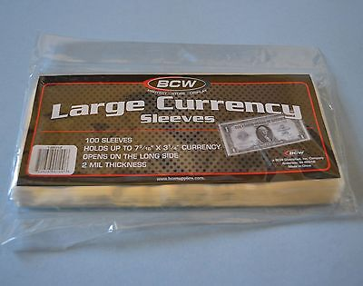 "100 BCW LARGE 2MIL CURRENCY SLEEVE ""7 9/16 X 3 1/4"" ACID FREE POLY"