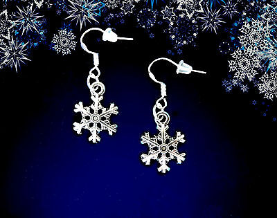 BUY 3 GET 1 FREE~SILVER SNOWFLAKE DANGLE EARRINGS~CHRISTMAS GIFT FOR HER WOMEN  ()