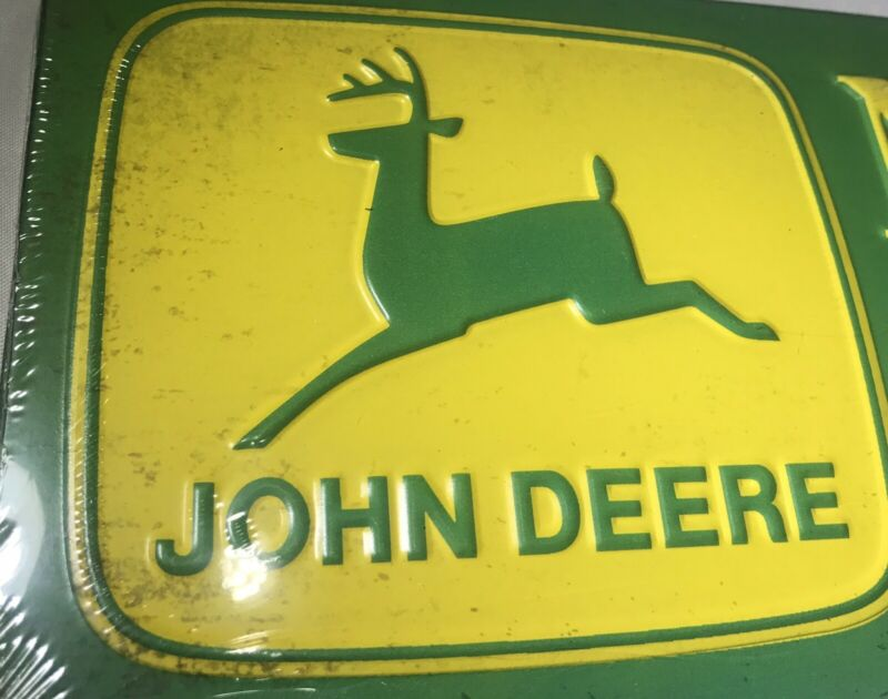 "John Deere Embossed Metal Sign ""Nothing Runs Like A Deere"" New Collectible Sign"