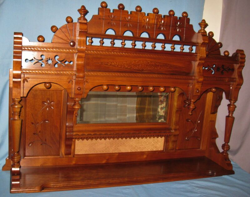 ANTIQUE WALNUT CARVED BACKBAR FIREPLACE MANTLE TABLE COUNTER TOP WALL SHELF