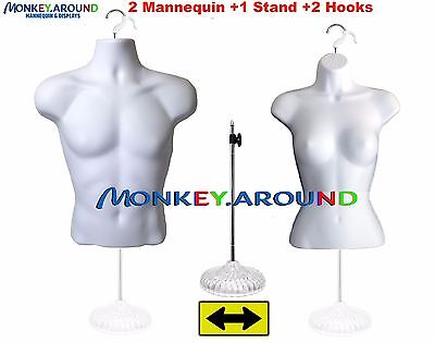 Mannequin Male Female Form 1 Stand Display Apparel T-shirt Men Women - White