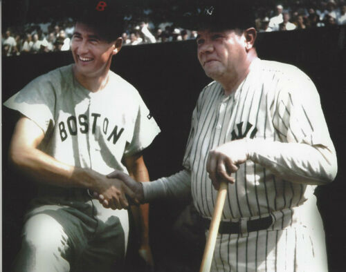 NY Yankees Babe Ruth &  Boston Ted Williams 8x10 color outstanding   photo
