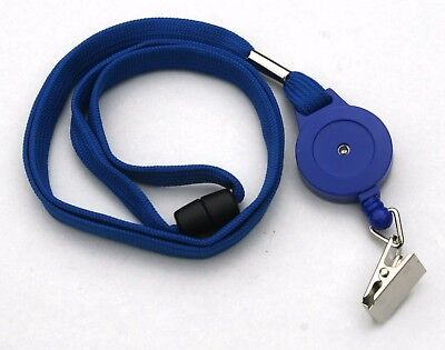 Blue Retractable Lanyard Reel Inc Metal Crocodile Clip With Safety Breakaway
