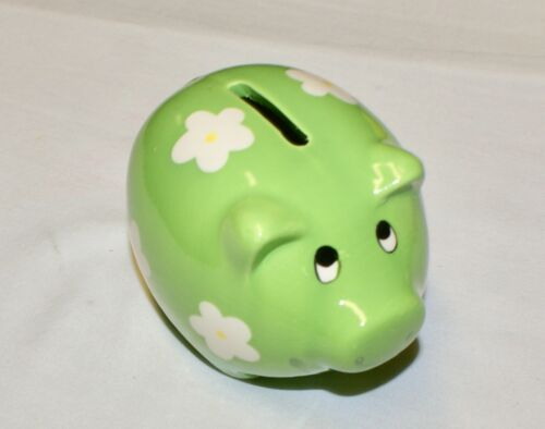 """Green Pig Coin Piggy Bank Ceramic with Flowers 4.25"""" NEW Shower Party Favor"""