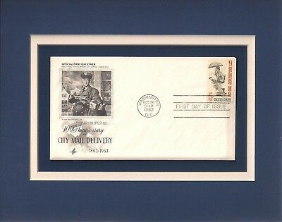 U S  Mail Carriers   City Mail Delivery   Frameable Postage Stamp Art   0360