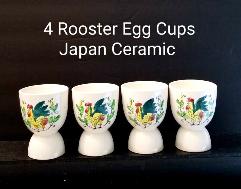 4 Vintage Roosters and Roses Ceramic Egg Cups JAPAN