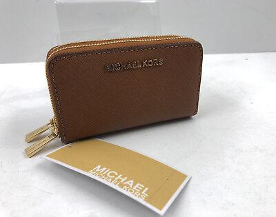 NWT Michael Kors Jet Set Travel Double Zip Saffiano Card Holder Luggage