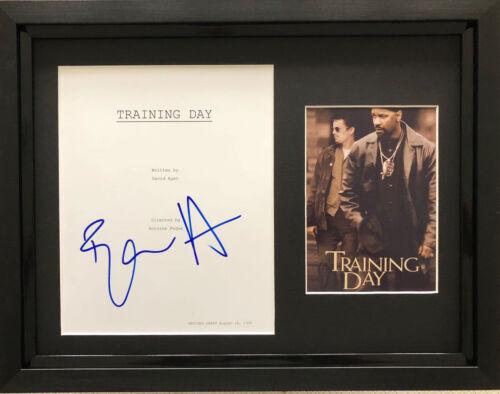 Ethan Hawke signed Training Day script framed with poster AFTAL & UACC [15497]