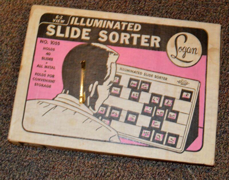 Vintage Logan Electric E-Z View Illuminated Slide Sorter Holds 40 Slides #1055