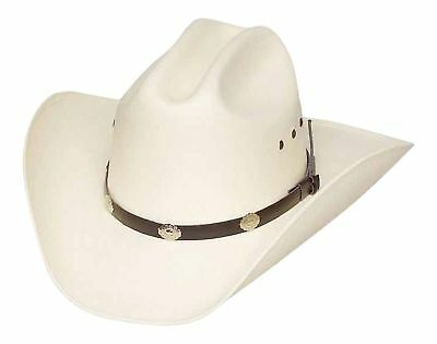 Classic Cattleman Straw Cowboy Hat with Silver Conchos S/M