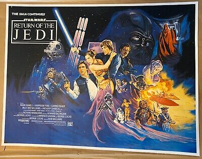 Return Of The Jedi (Star Wars) LINEN BACKED UK Quad (1983) Action Style