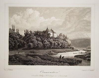 Schloß Oranienstein Dietz Lahn Nassau   echter alter Stahlstich 1850