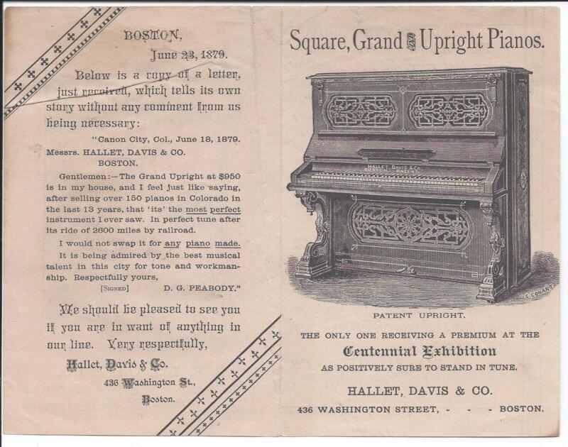 1879 Illustrated Brochure, Hallet, Davis & Co. Pianos