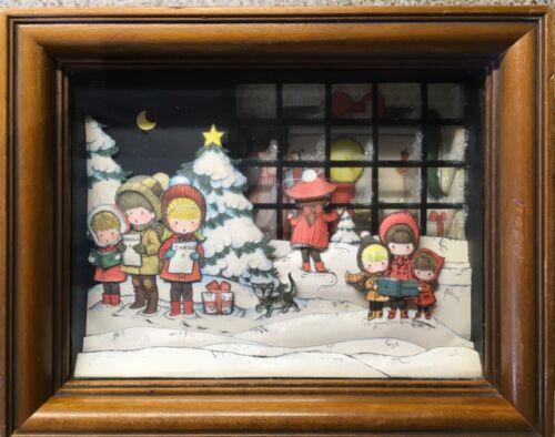 "Vintage 70s Joan Walsh children carolers 3D framed Christmas shadow box 8.5""X 7"""
