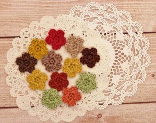 Crochet Flower Small Tiny Applique Embellishment Fall Color Mix 12 pcs