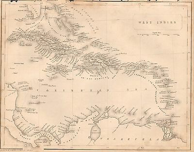 1850 Ca ANTIQUE MAP- WEST INDIES