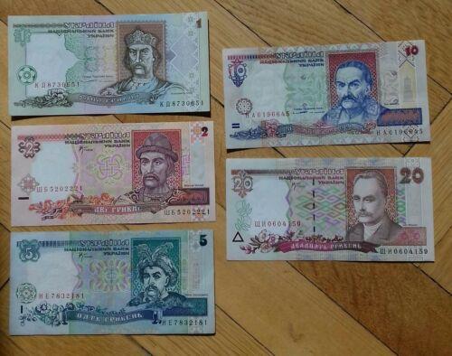 UKRAINE 1994-2001 Full set  Second release Hryvni 1,2,5,10,20