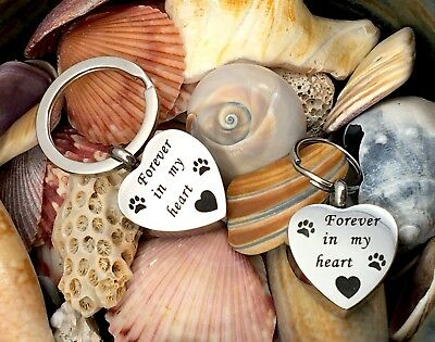 """Pet Cremation Pendant Urn Keychain 1"""" Key Ring for Ashes Dog Cat Paw Print Heart"""