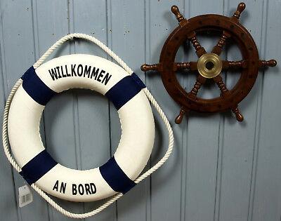 2-tlg. maritimes Deko Set: Holz Steuerrad 30cm + Deko Rettungsring 35cm b/w