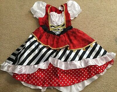 Girls Dress Up  Classic Pirate Costume Size Small Satin Very Cute - Pirate Dress Up Girls