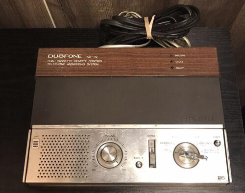 Vtg 1980s Radio Shack DuoFone TAD-112 Wood Grain Tape Answer