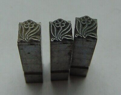 Vintage Printing Letterpress Printers Block 3 All Metal Flowers 316 X 28
