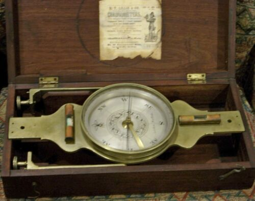 ANTIQUE  SURVEYING COMPASS - D,T, LILLIE & CO.- NEW YORK