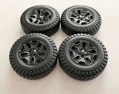Set Of 4 Off Road Black Wheels And Tires 1/18 Scale For Trucks And SUVs 4X4