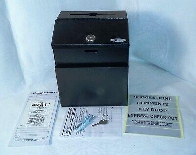 Safco Suggestion Drop Box Black Steel Hinged Top Lock Box Envelope Slot 4232bl