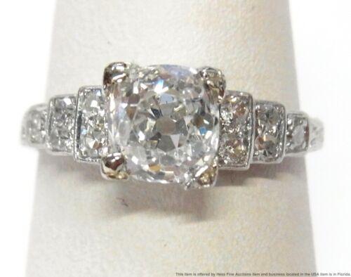 GIA 1.34ct Old Mine Diamond VS2 H Center Platinum Ring Antique Art Deco Stunner