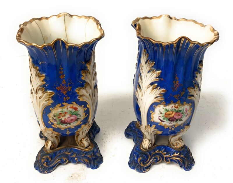 A Pair 19th Century English Floral Spill Vase Claw Feet See Pictures.