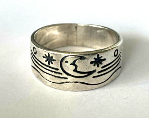 Vintage Mexico Sterling Silver 925 Night Sky Star Moon Ring Band Size 8