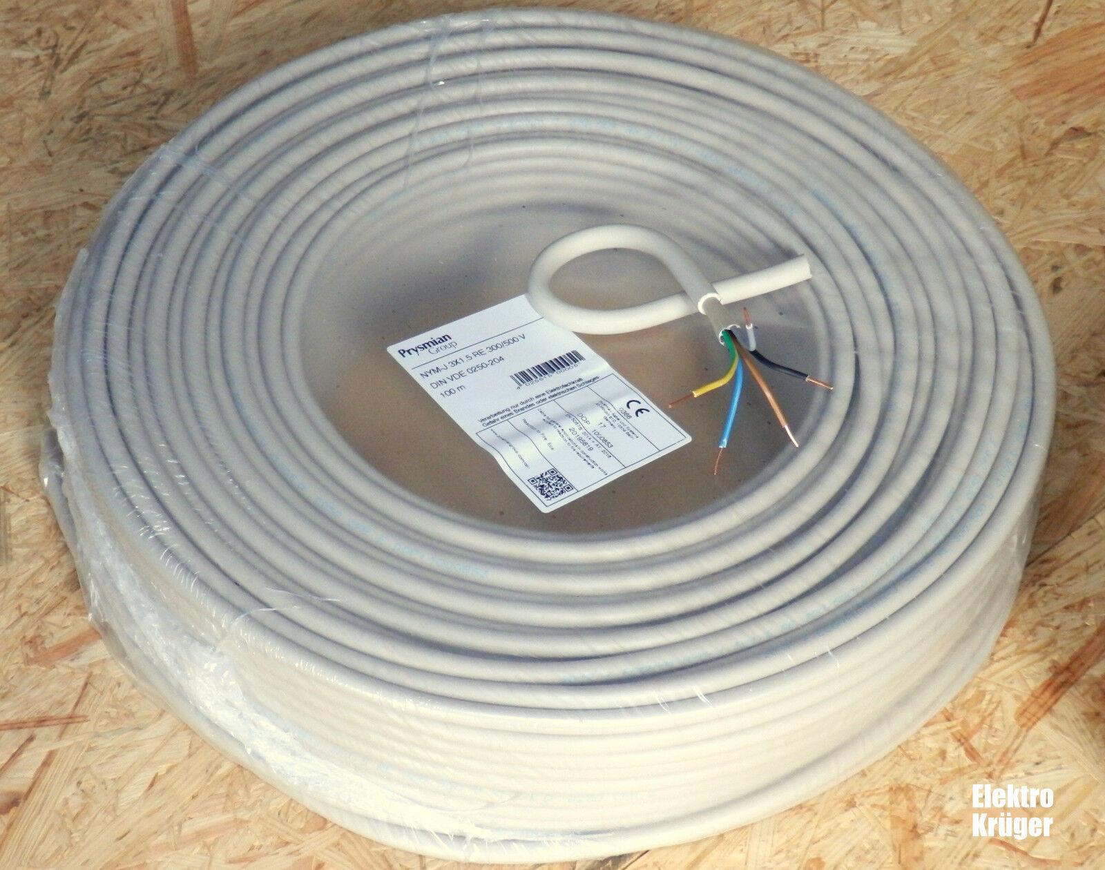 NYM-J 5X1,5 Mantelleitung Installationsleitung Elektrokabel 5-100 Meter VDE CE