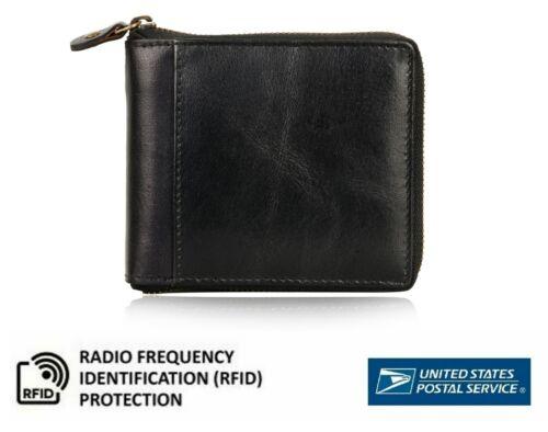 Mens Rfid Leather Wallet Zip-around  Credit Card Holder Bifold Purse Us Stock