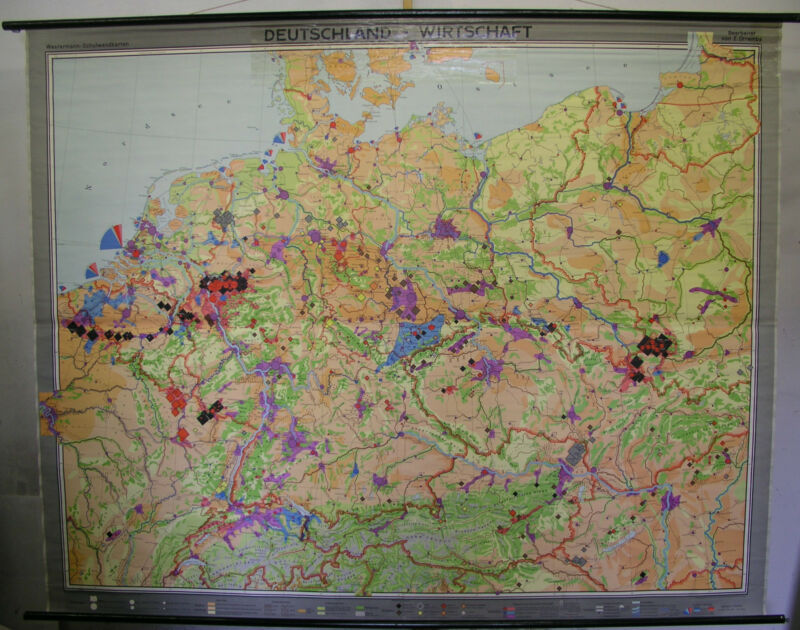 Schulwandkarte Wall Map Card Germany Steel Coal Car Salt 246x196 1962 Map
