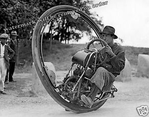 Photograph Goventos'a Vintage One Wheel Motorcycle Year 1935  8x10