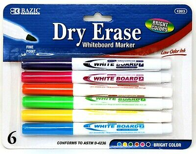 6 Dry Erase White Board Markers Fine Point Tip Bright Colors New Free Shipping