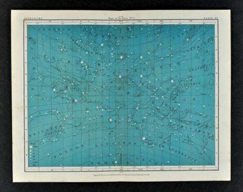 1855 Johnston Astronomy Star Map 15 Constellations Zodiac Andromeda Aquarius