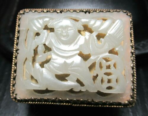 CARVED CHINESE MAN WHITE JADE TOP CLOISONNE ENAMEL PILL BOX