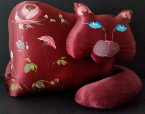 Rare Color Vintage Jan Feenstra Handmade Satin Soft Sculpture Cat or Plush Doll