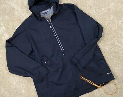 Men's Nike Blue 1/2 Zip Hooded Pullover Golf Windbreaker Rain Jacket Vented Sz L