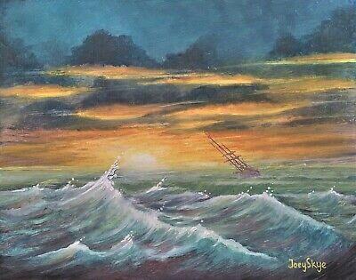 Pirate ghost Ship Ocean sailing sea scape sunset Original Oil Painting JOEY SKYE