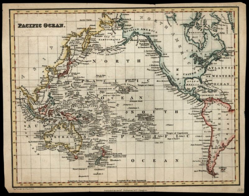 Pacific Ocean Oceania North South America 1833 Fullarton & Gray Death Cook map