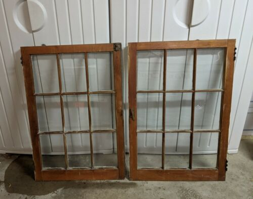 "Pair - 34H"" x 24W"" Vtg Windows Old Casement 9 Pane From 1927 Arts & Crafts"