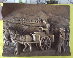 ancien tableau relief sculpt bois les vendanges bourgogne france sign ebay. Black Bedroom Furniture Sets. Home Design Ideas