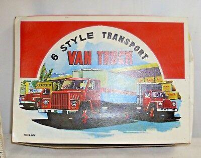 6 STYLE TRANSPORT VAN TRUCK ASSORTMENT TIN TOY BOX ONLY 1950s JAPAN