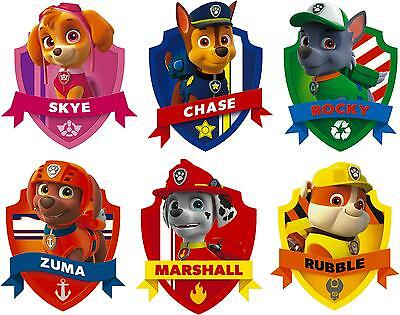 Paw Patrol Badge Set - Wall Shield Printed Vinyl Sticker Decal Childrens Bedroom