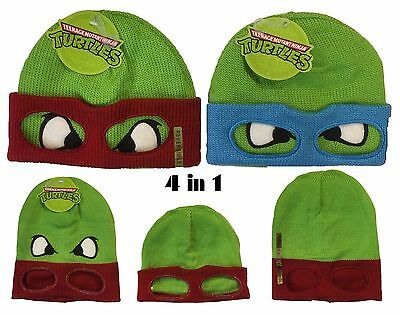 Authentic Ninja Turtles Reversible 4 in 1 Nickelodeon Beanie Ski Hat Cap